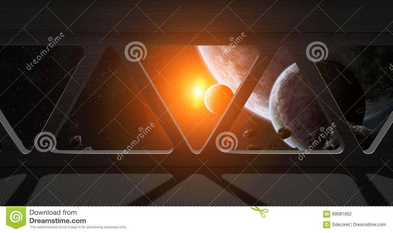 View Of Outer Space From Inside A Space Station Royalty ...