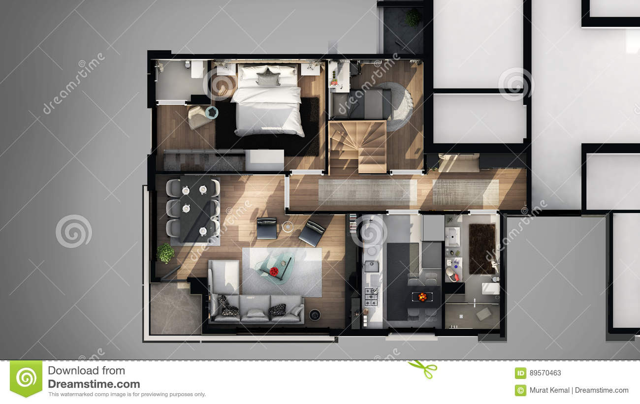 View from outside of 3D designed floor plan