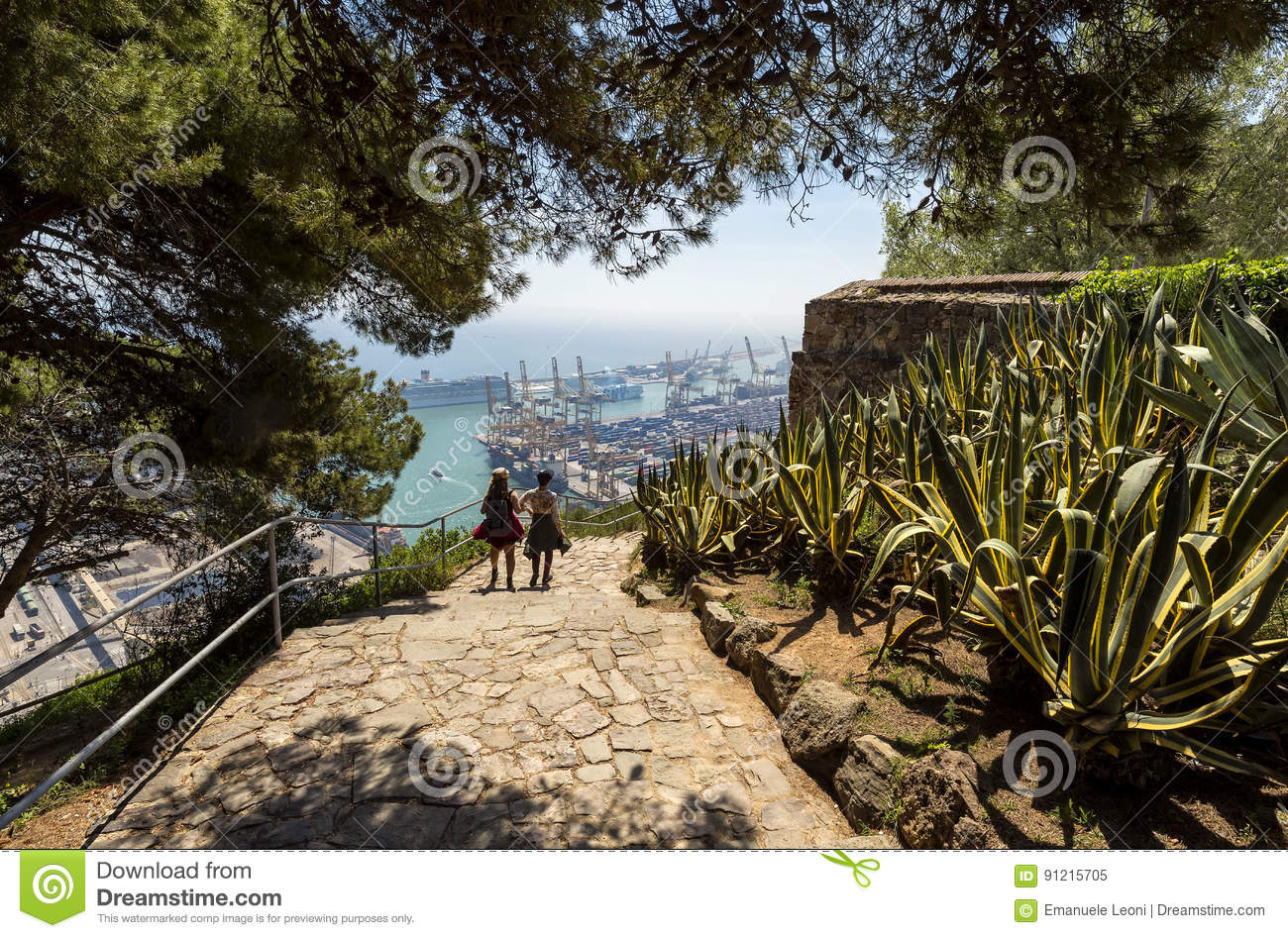 View over the city and port from Montjuic Hill, seaside cityscape, Barcelona, Spain.