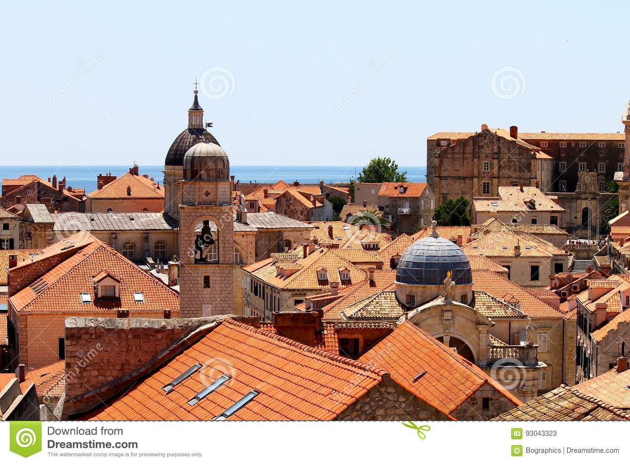 Old town of Dubrovnik near the sea, church towers