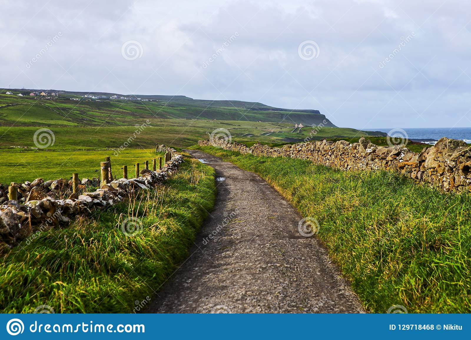 Small pedestrian path at Cliffs of Moher from Doolin, Ireland