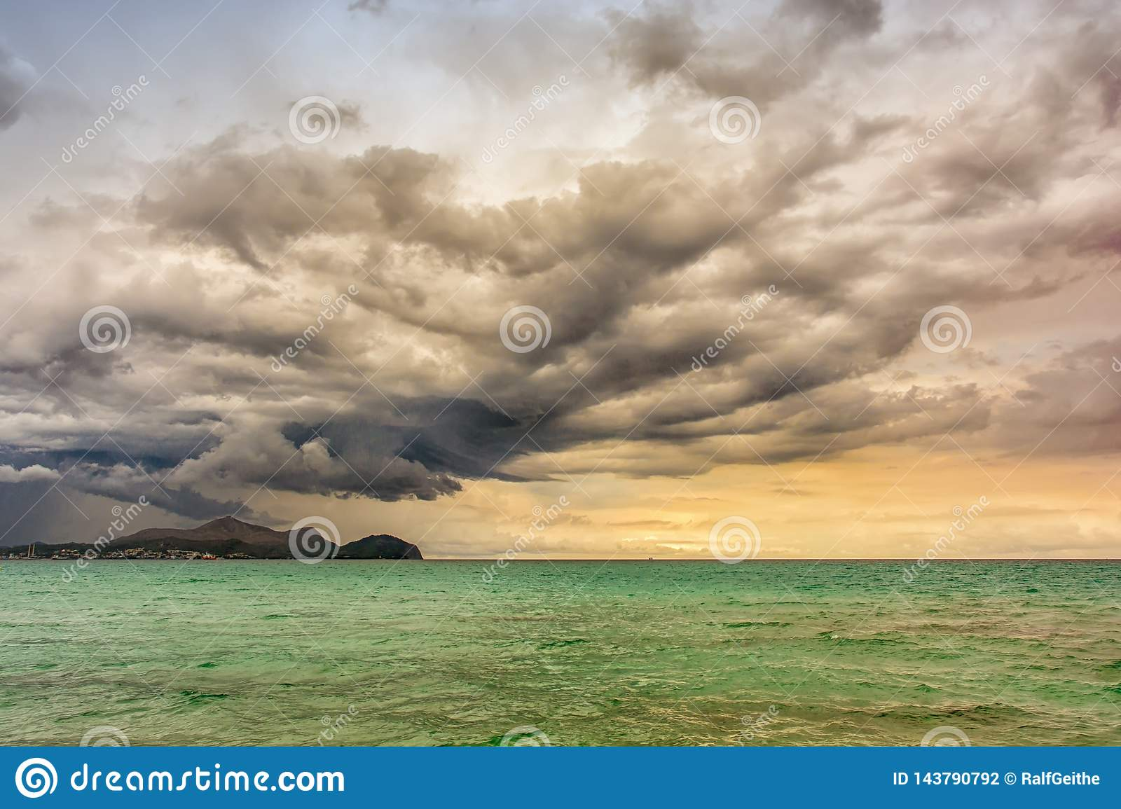Strong thunderstorm on the beach of Mallorca