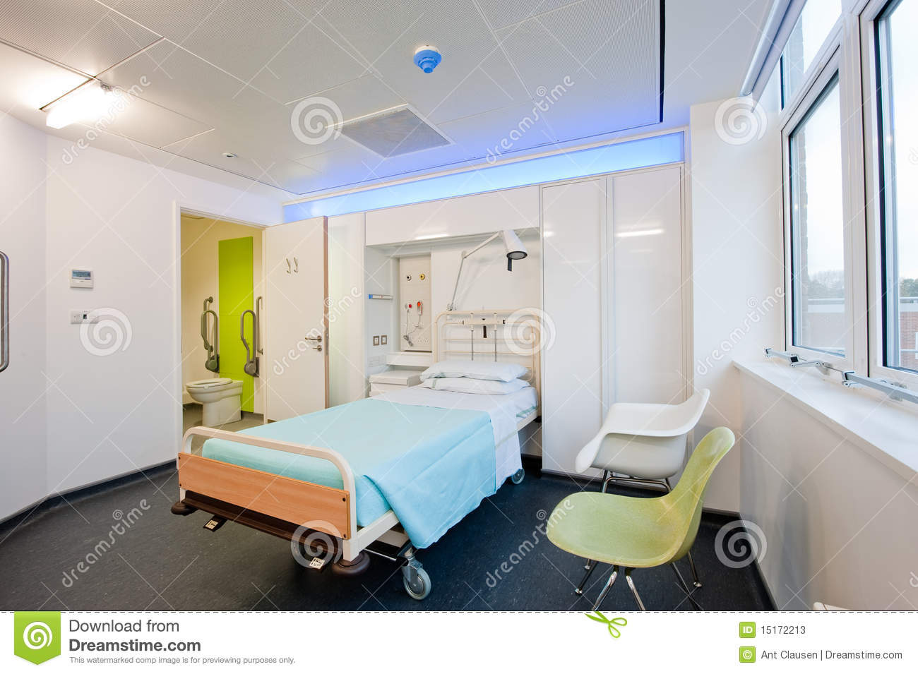 Modern hospital interior - View Over A Modern Hospital Room Stock Photos