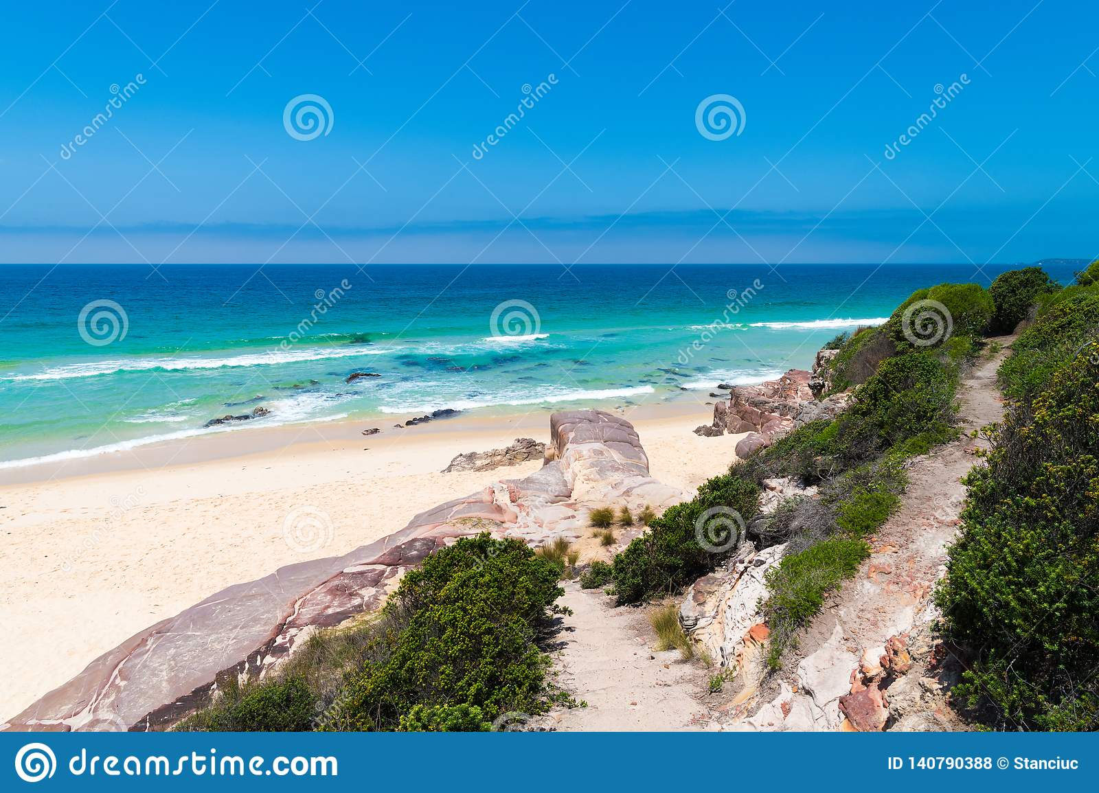 View over remote Quondolo Beach, located in Ben Boyd National Park, NSW, Australia, popular for surfing and rockpool exploring and