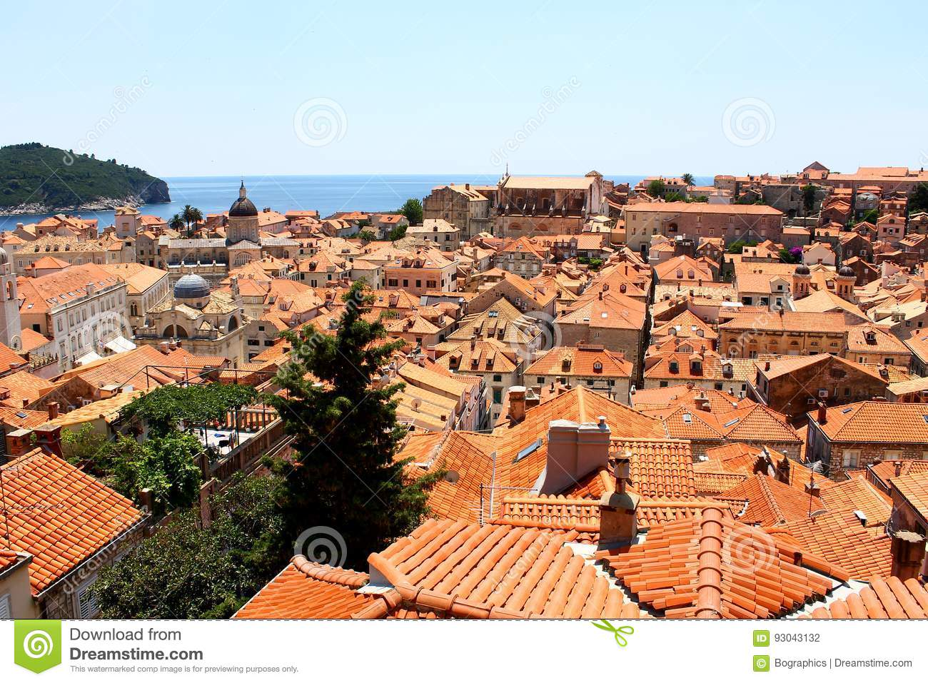View over the roofs of Dubrovnik old town