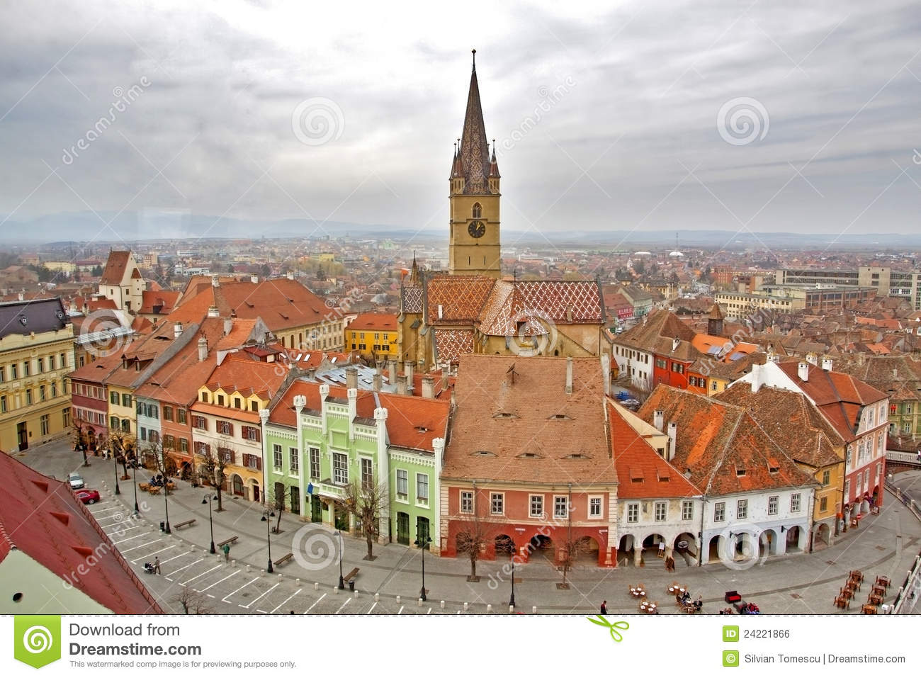 View Over Sibiu City In Romania Stock Photo Image Of
