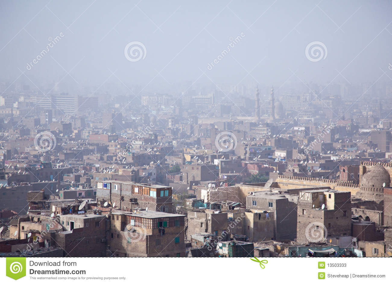 View Over Smoggy Slums Of Cairo Stock Image Image Of