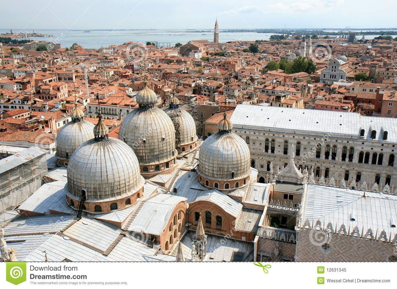 View over St Marks Basilica and Venice, Italy