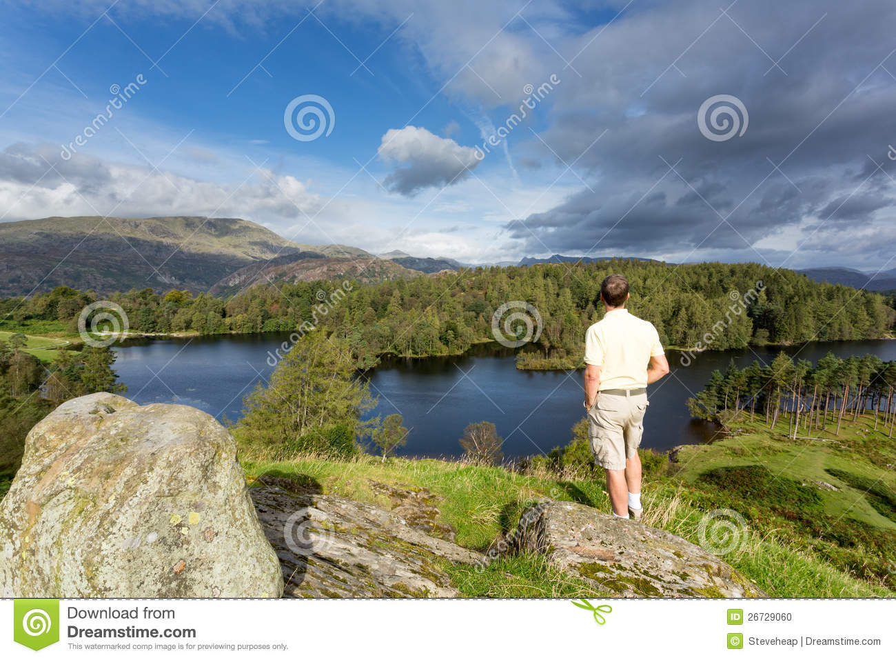 View over tarn hows in english lake district stock photo for How s the fishing
