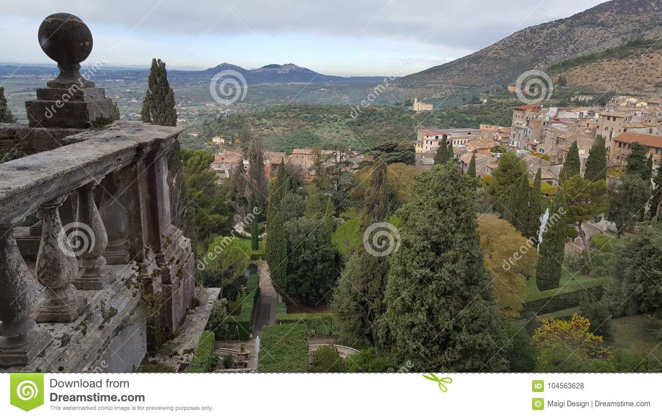 Download View Over Tivoli From Villa D'Este Stock Photo - Image of unesco, italian: 104563628