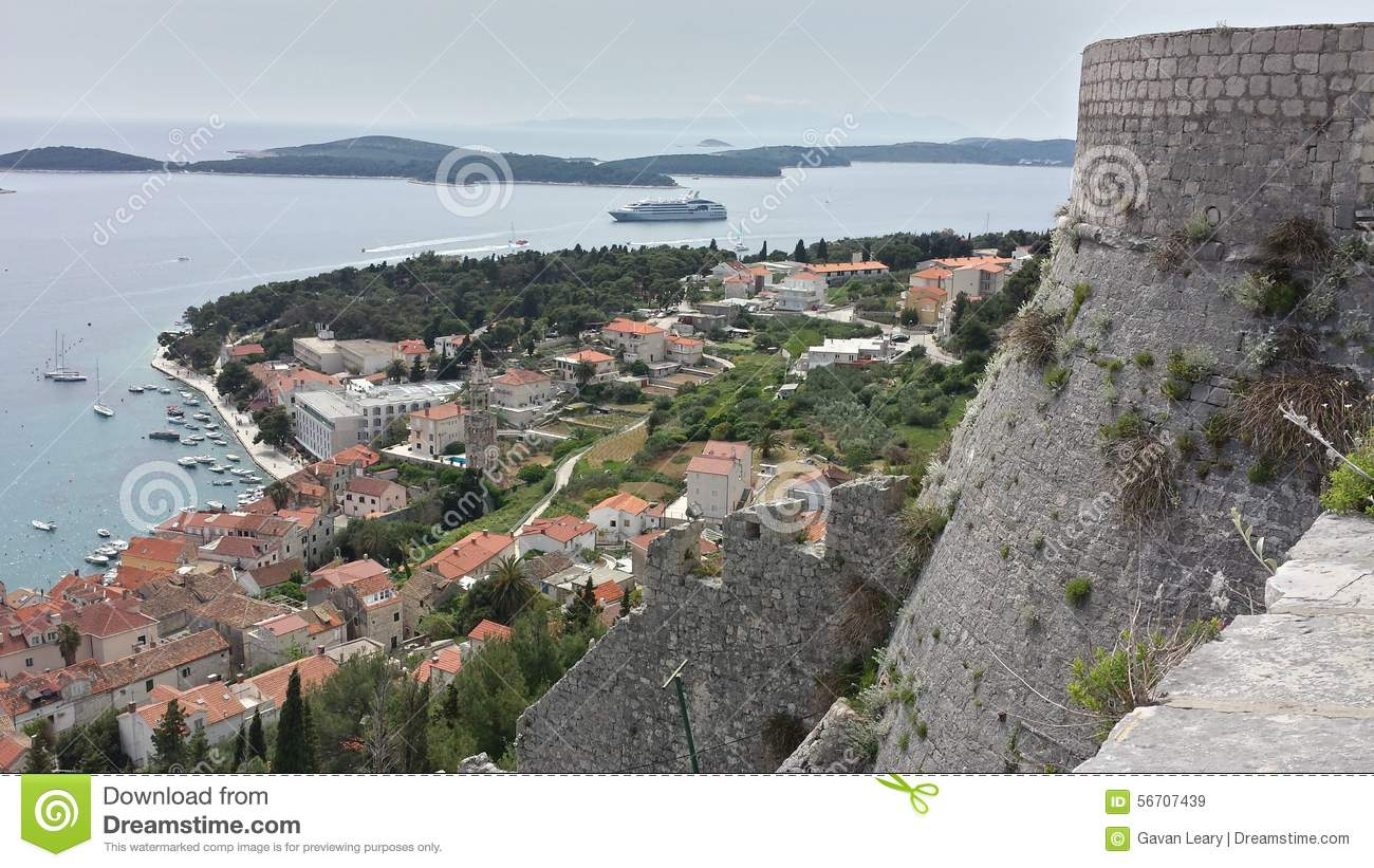 View over town of Hvar Croatia from Spanjola Fortress