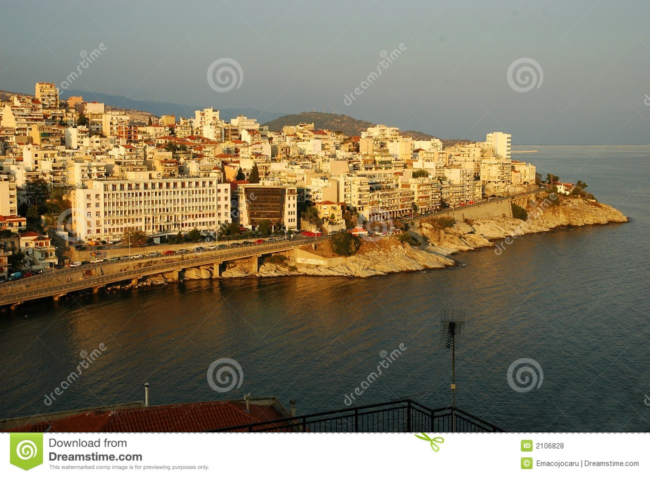 View over the town of Kavala, Greece, at sunset