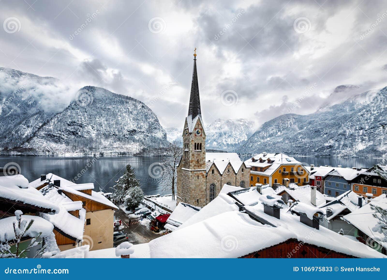 View over the village of Hallstatt in the Austrian Alps
