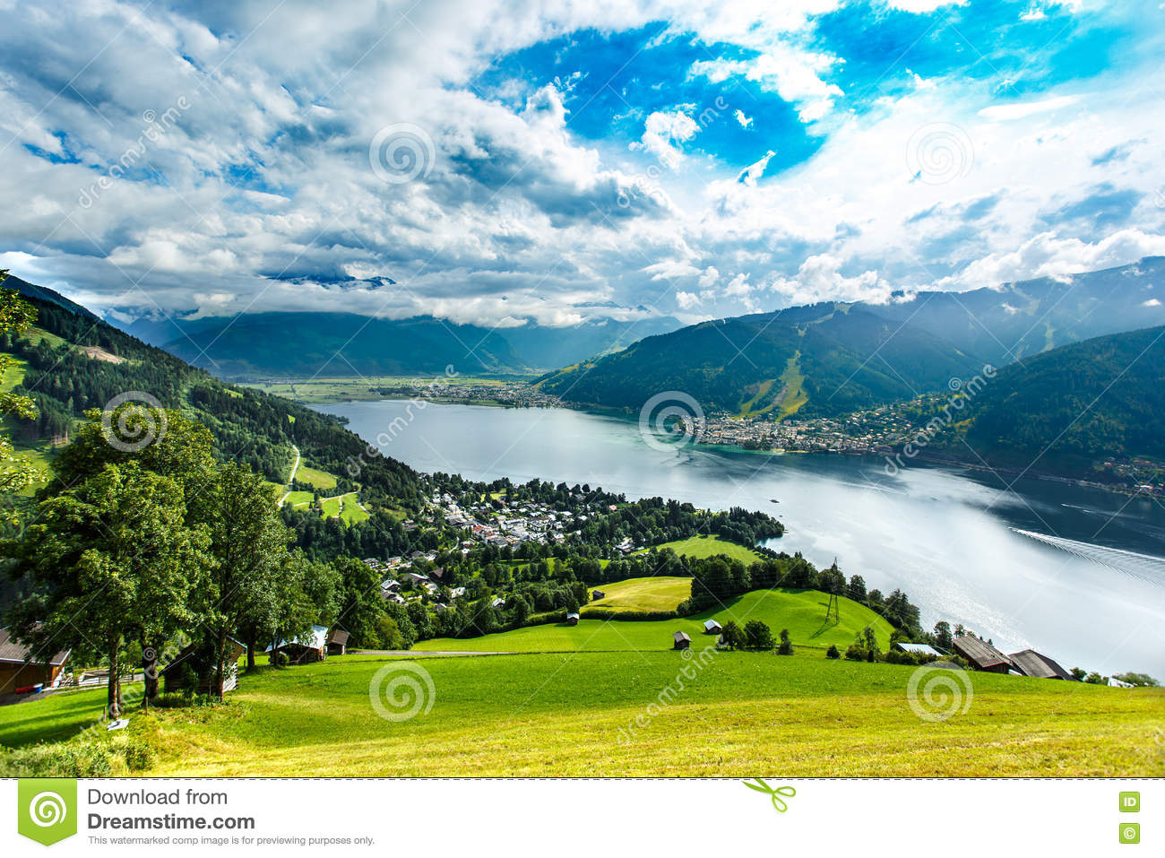 View over Zeller See lake. Zell Am See, Austria, Europe.