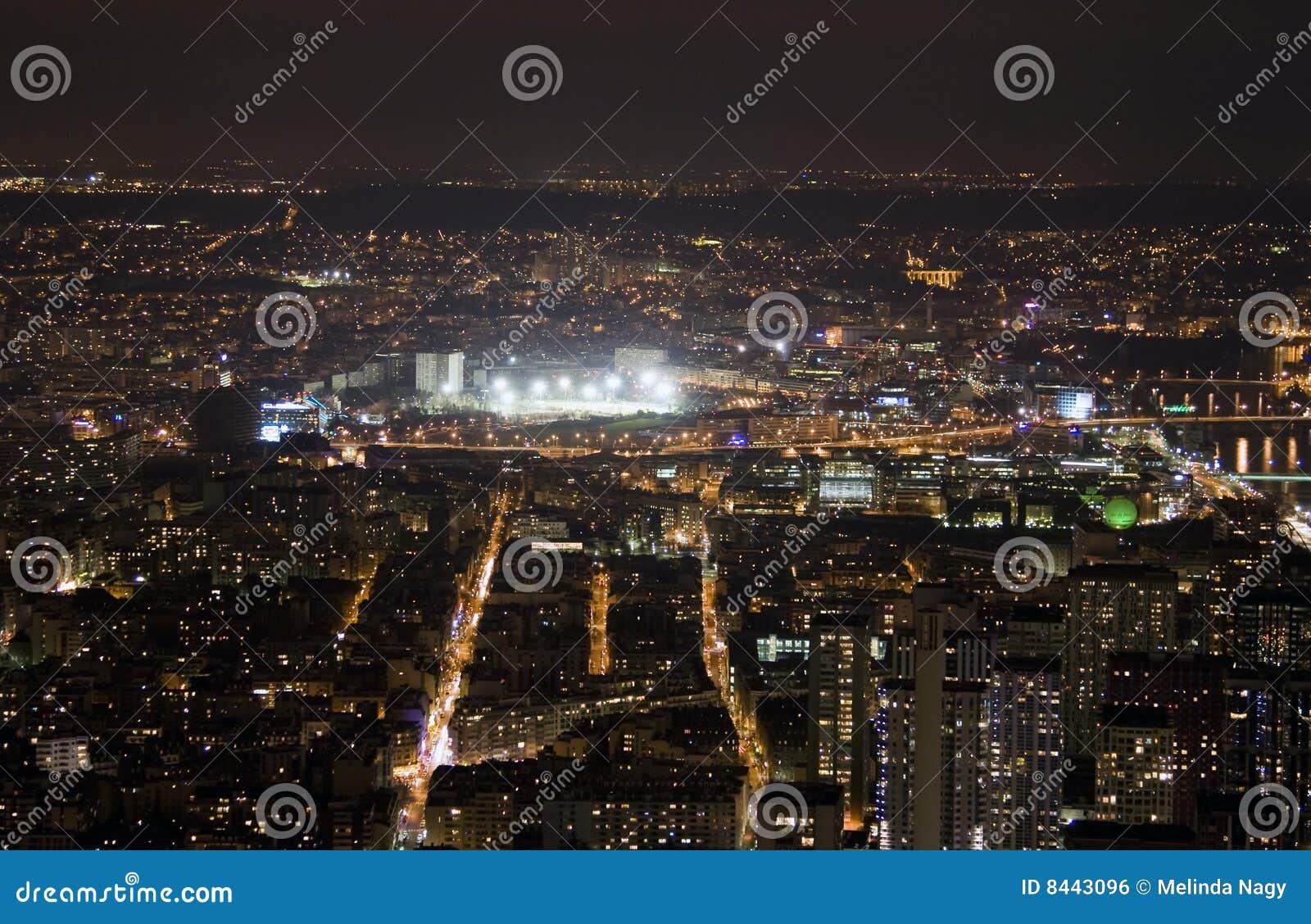 View on Paris at night
