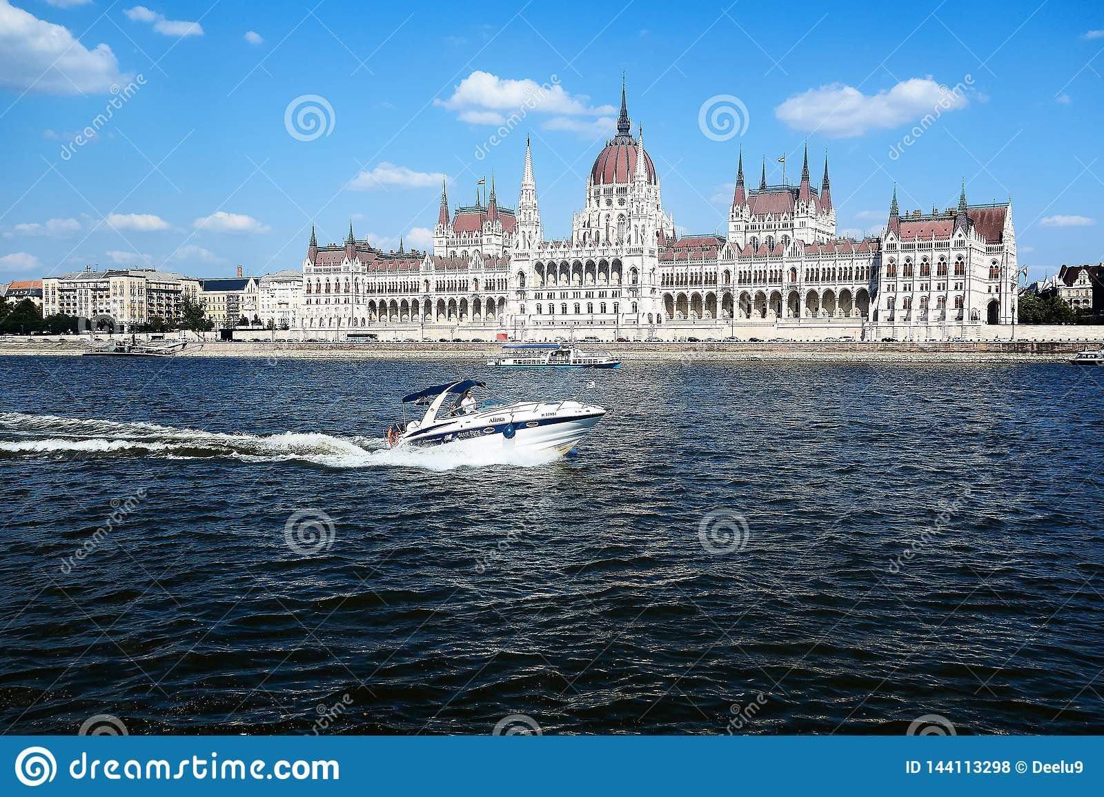 View on Parliament in Budapest from the Danube river