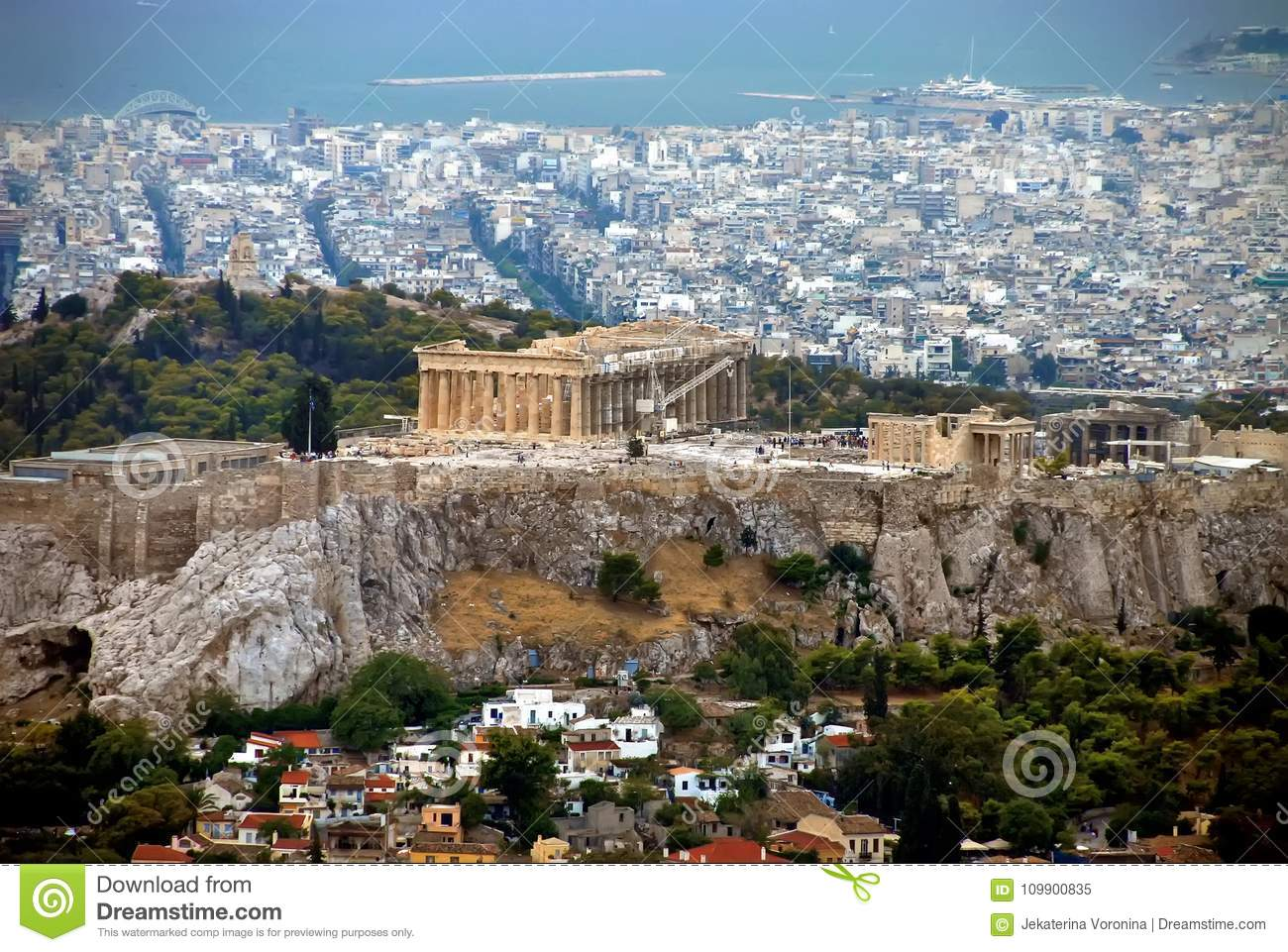 view of Parthenon and Athens , Greece