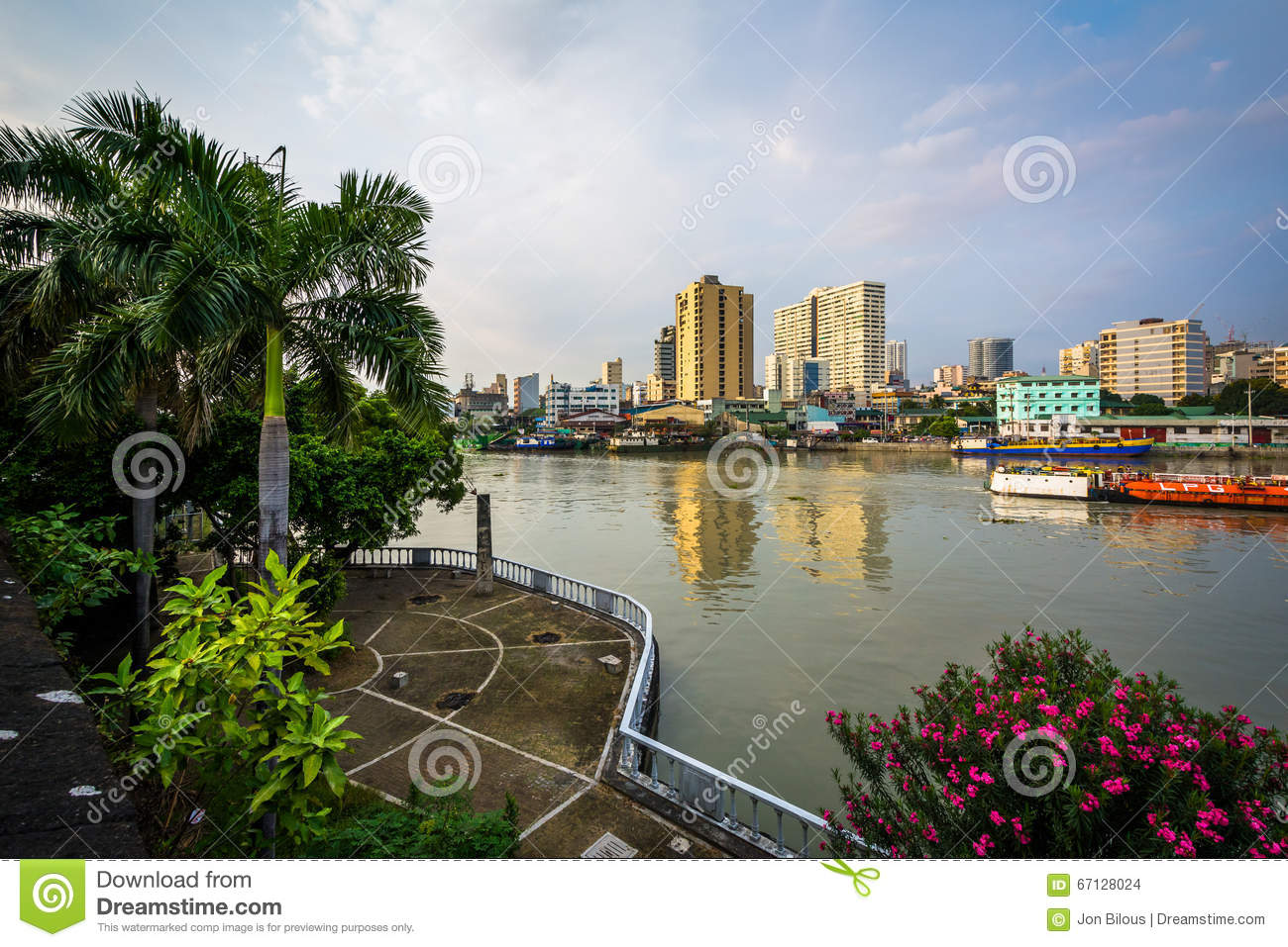 View of the Pasig River at Fort Santiago, in Intramuros, Manila, The Philippines.