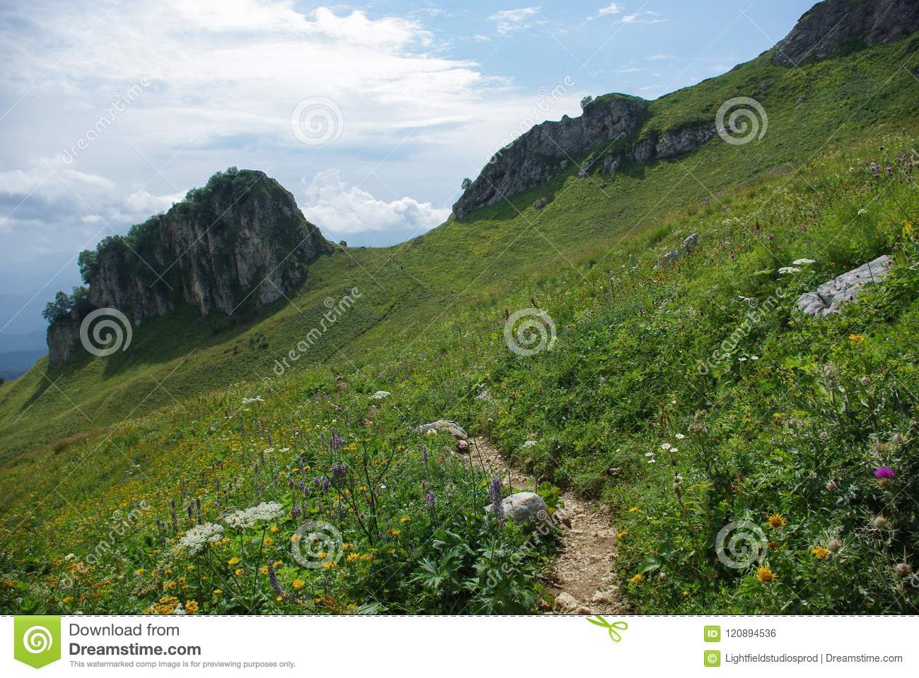 view on path and valley, Russian Federation, Caucasus,