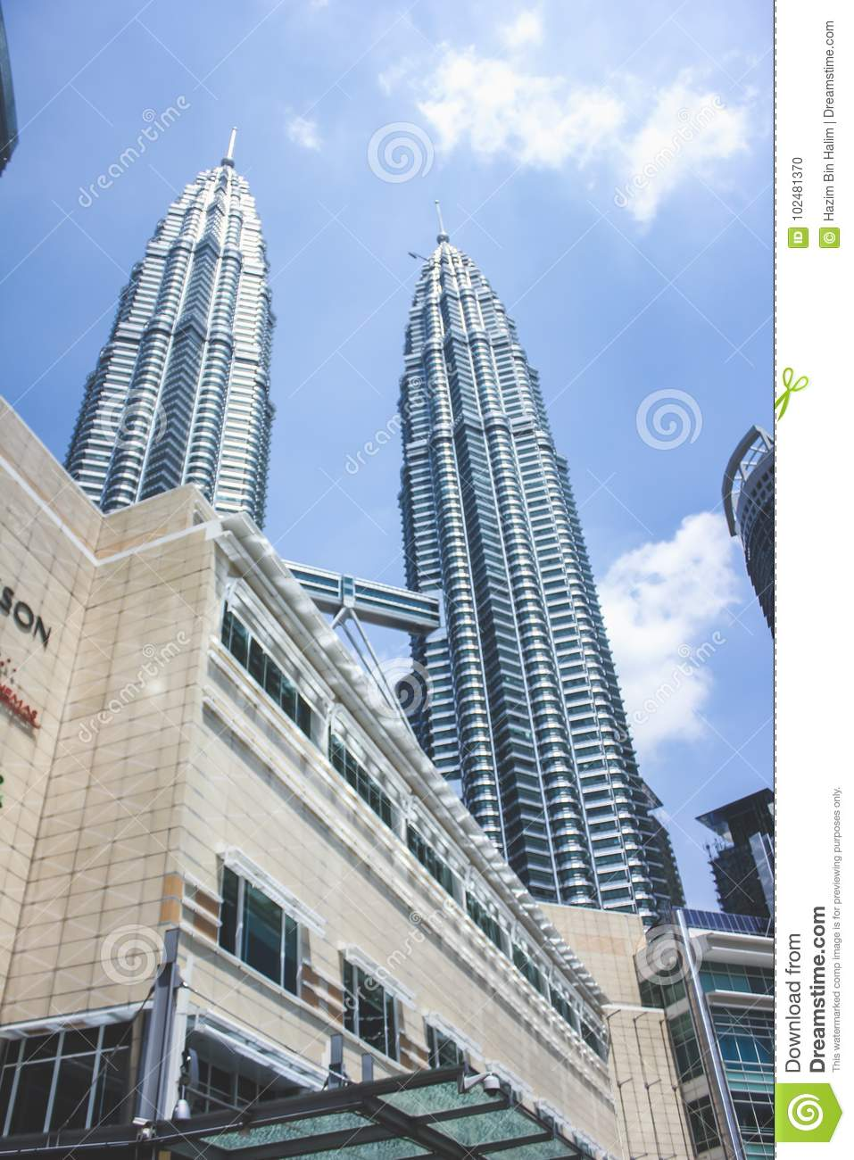 View Of Petronas Twin Tower And Suria Klcc Building During