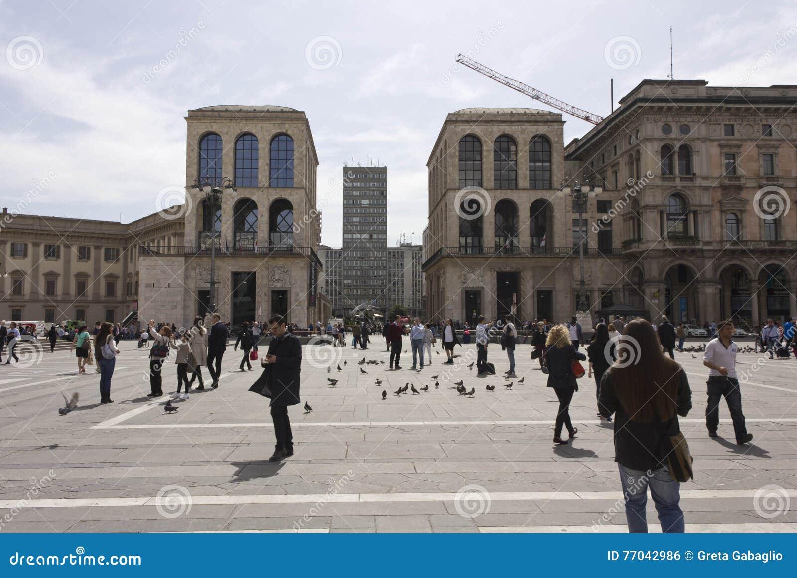 Museo Del 900 Milano.View Of Piazza Diaz Skyscraper And Museo Del 900 From Piazza Del