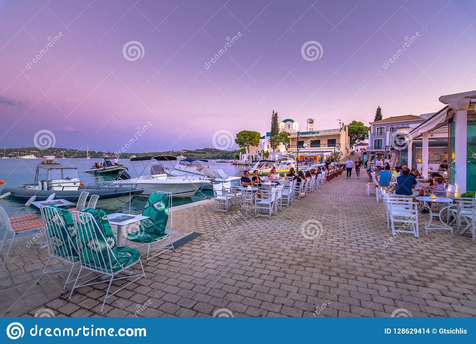 View of the picturesque coastal town of Porto Heli, Peloponnese.