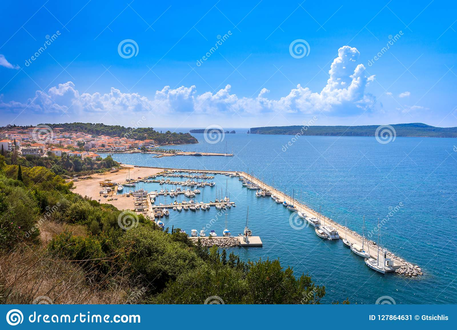 View of the picturesque coastal town of Pylos, Peloponnese.