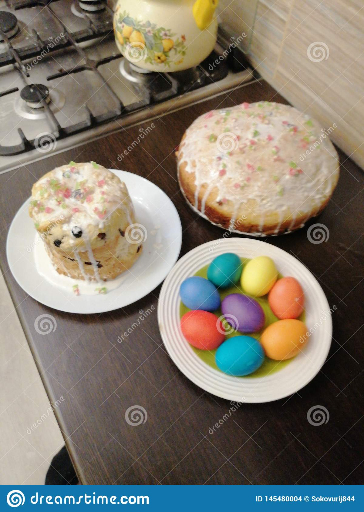 View of pies and Easter eggs