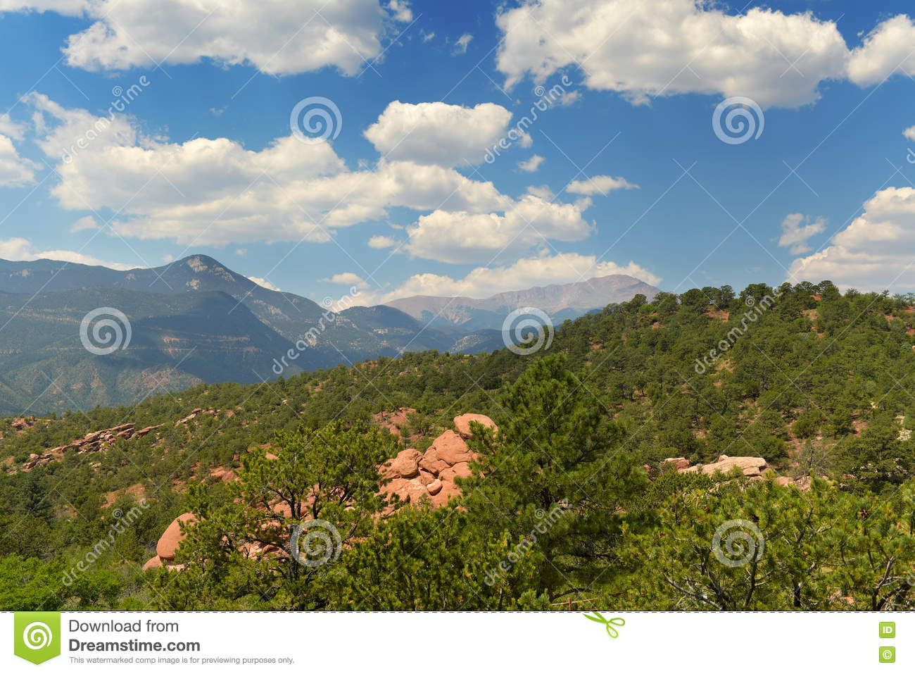 View Of Pikes Peak From Garden Of The Gods Stock Image
