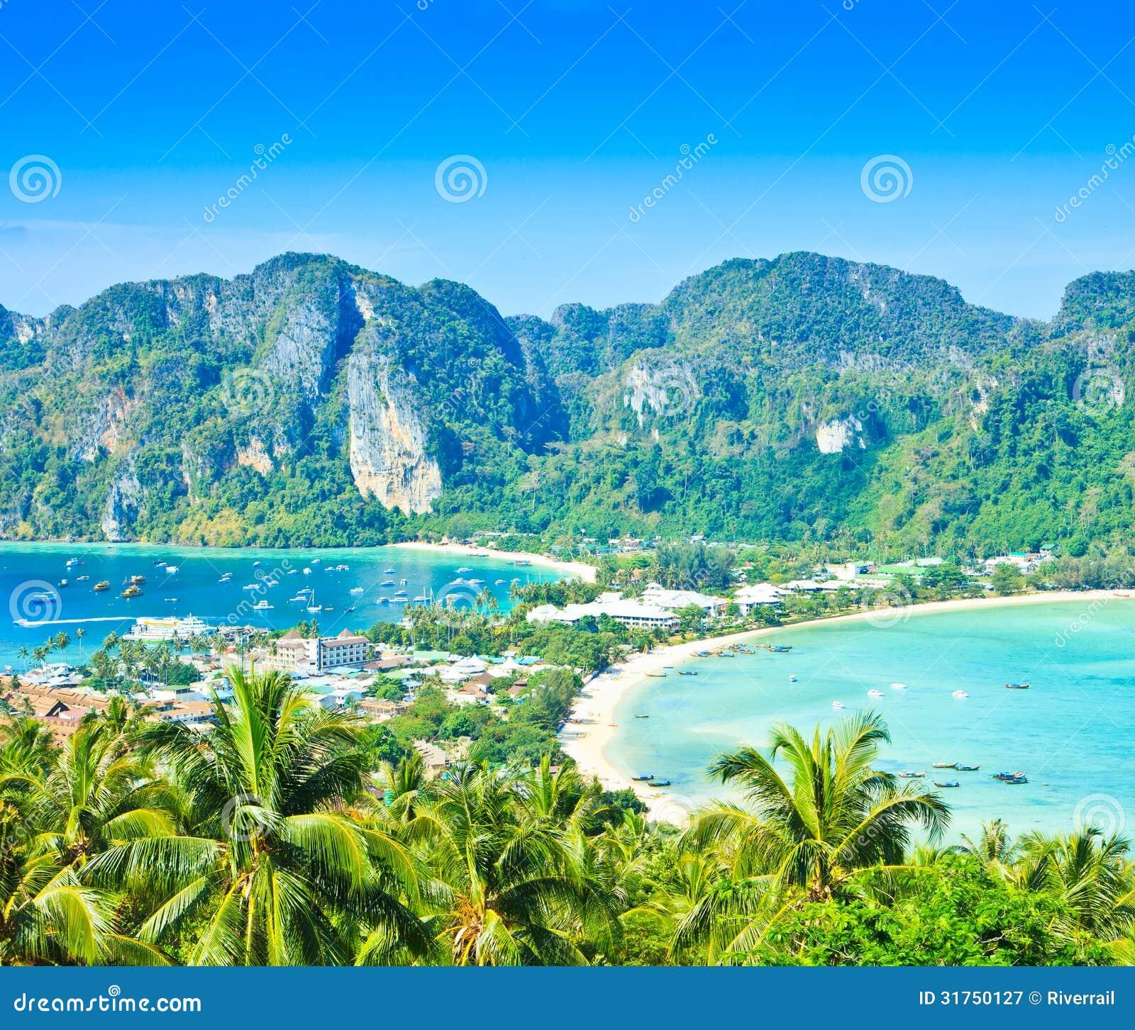 The Phi Phi Beach Resort Map: View Point At Phi-Phi Island Stock Image