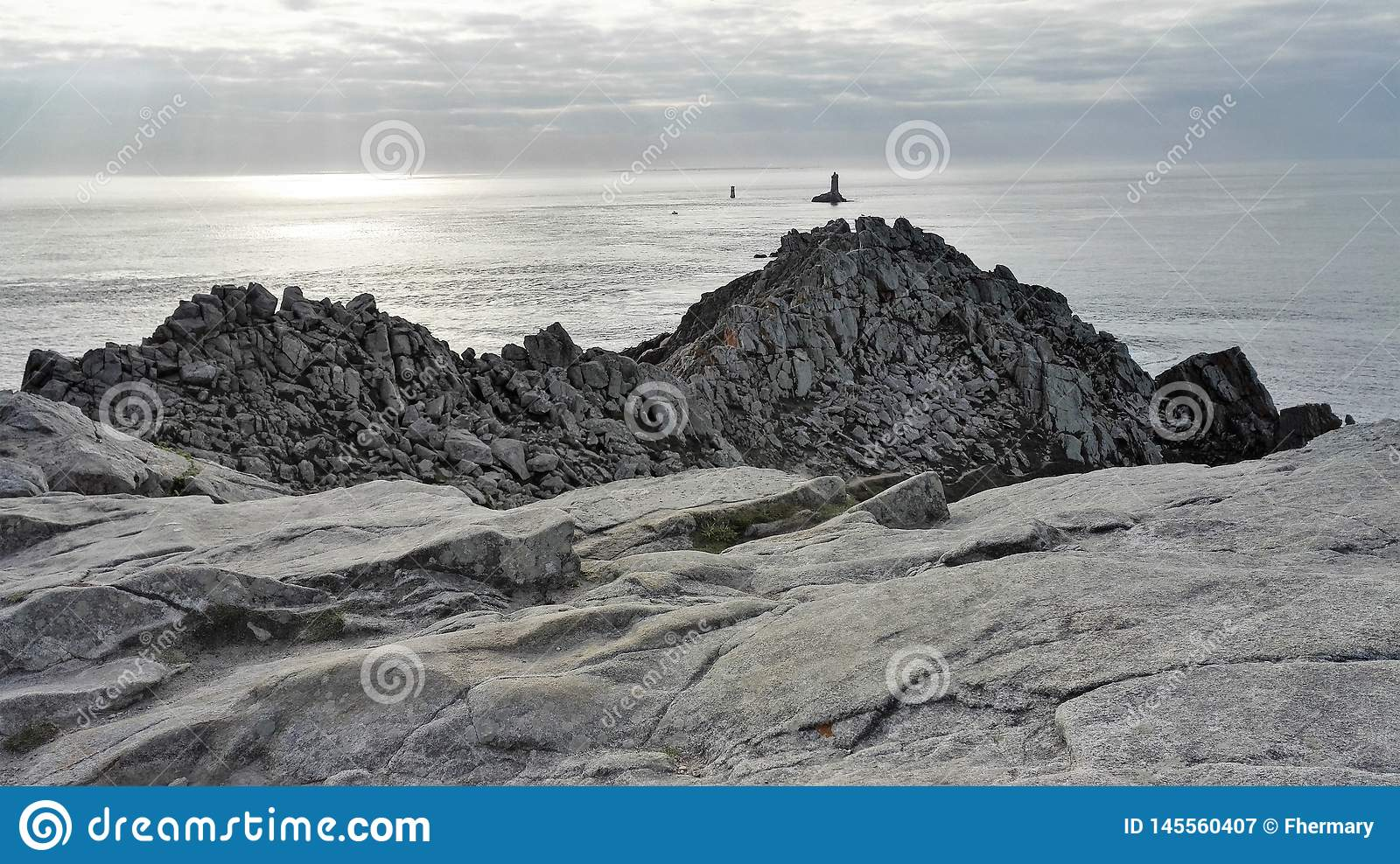 View of Pointe du Raz in Finistère, Brittany, France, Europe