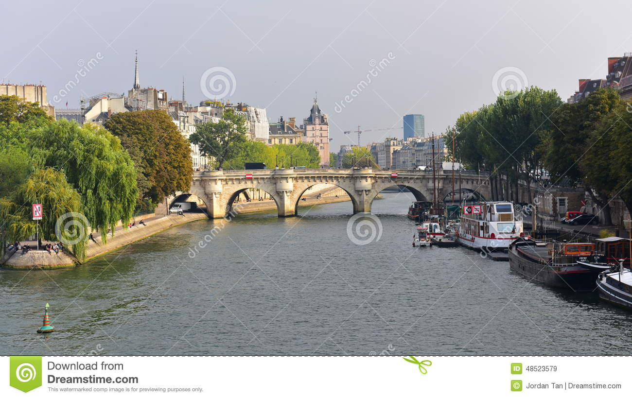 Download View Of Pont Neuf Arched Stone Bridge In Paris Editorial Stock Image - Image of popular, arched: 48523579