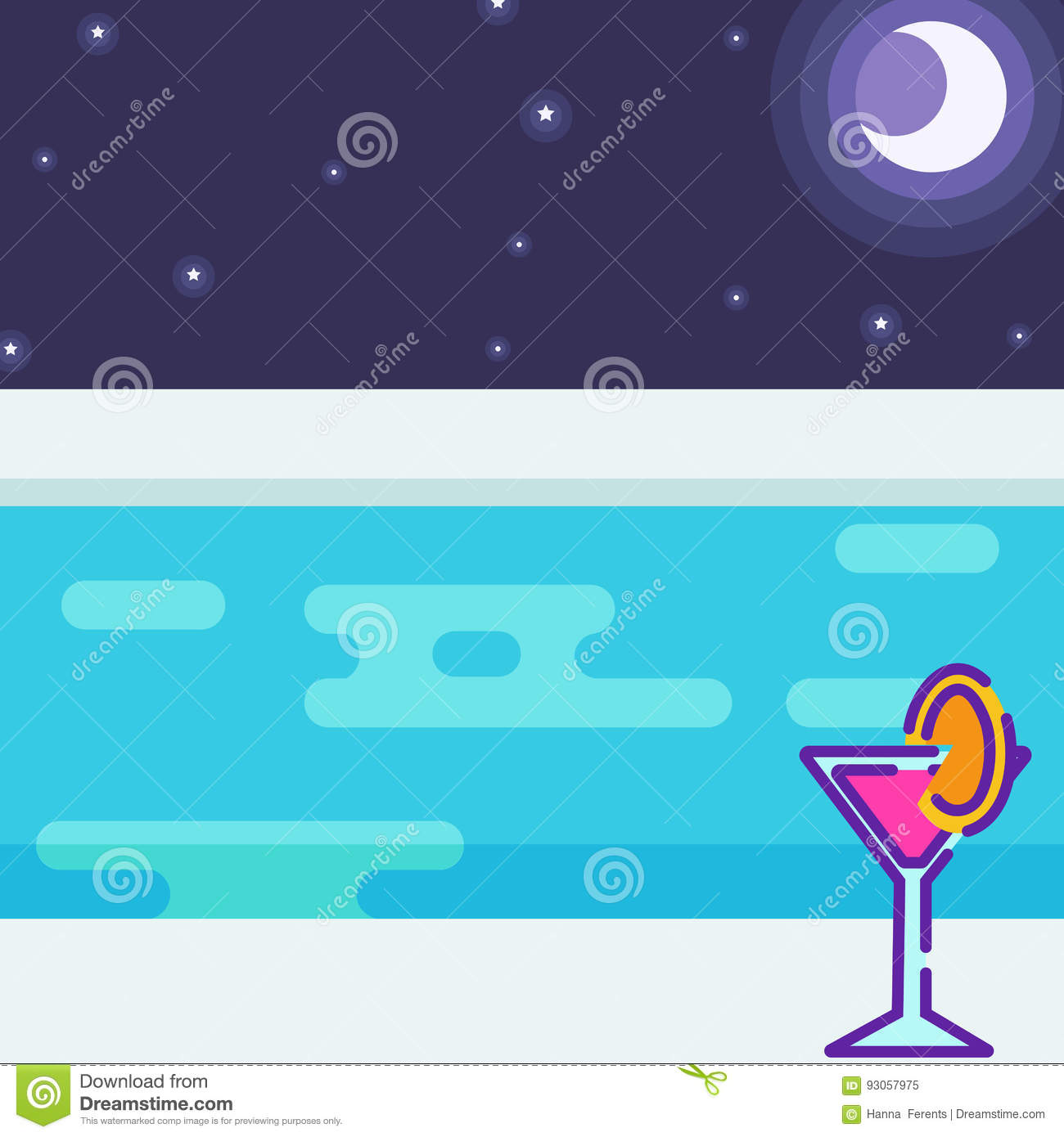 View From The Pool Party At Night Stock Vector ...