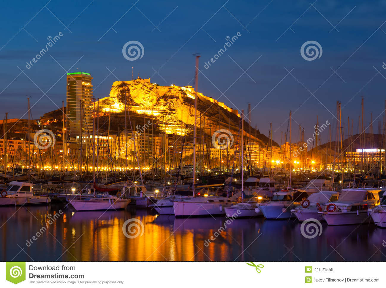 View of port in night. Alicante