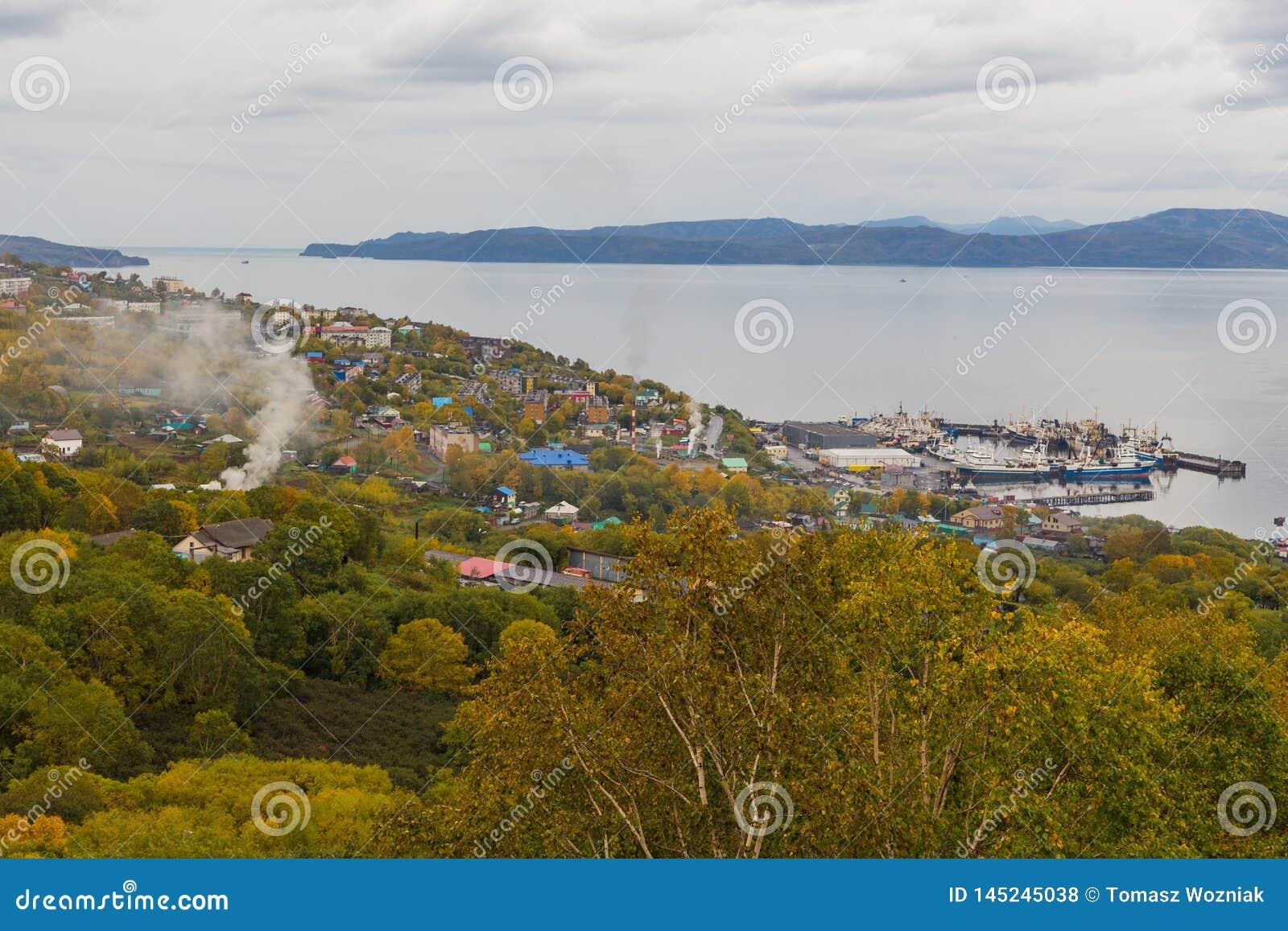 View of port Petropavlovsk-Kamchatsky, Avachinskaya Bay, Russia.