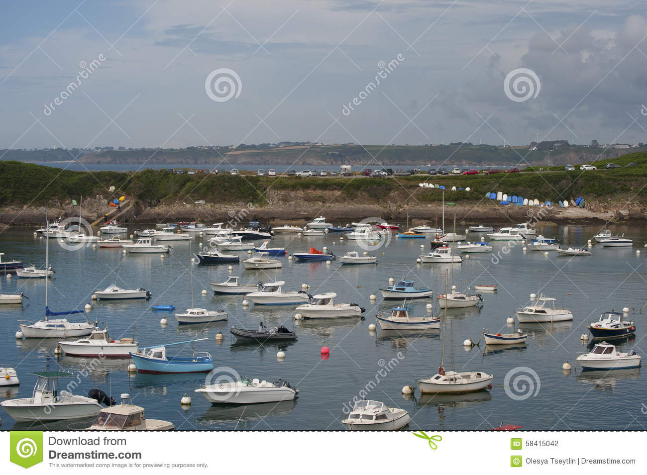 View of the port in the town of le conquet france stock - Hotel relais du vieux port le conquet ...