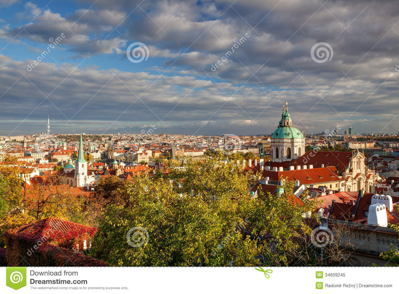 View from prague castle on autumn prague royalty free for Where is prague near