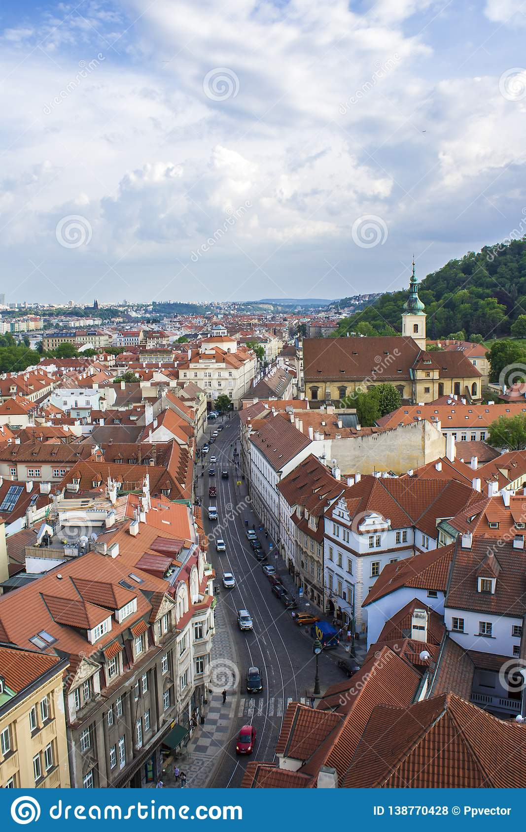 View of Prague from the tower of the Cathedral of St. Peter. Panorama of Prague. Architecture of Prague
