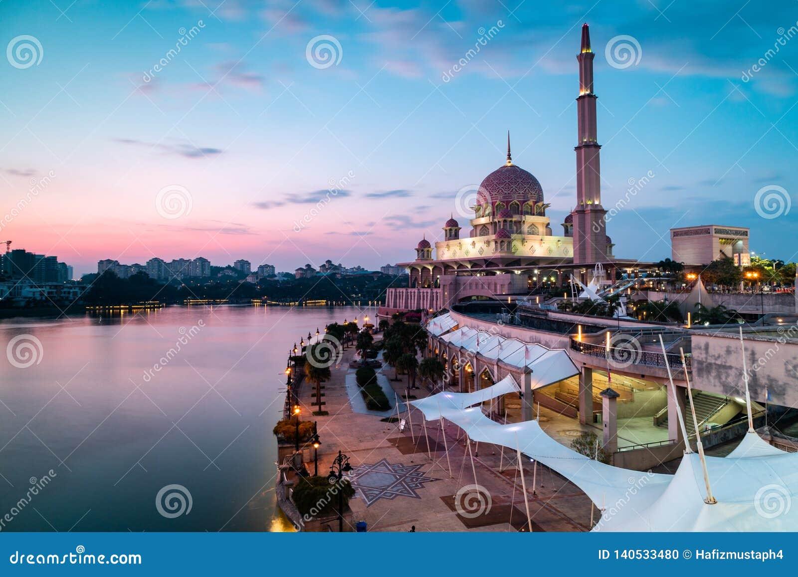 View of Putra Mosque just before blue hour. Long Exposure Landscape Orientation
