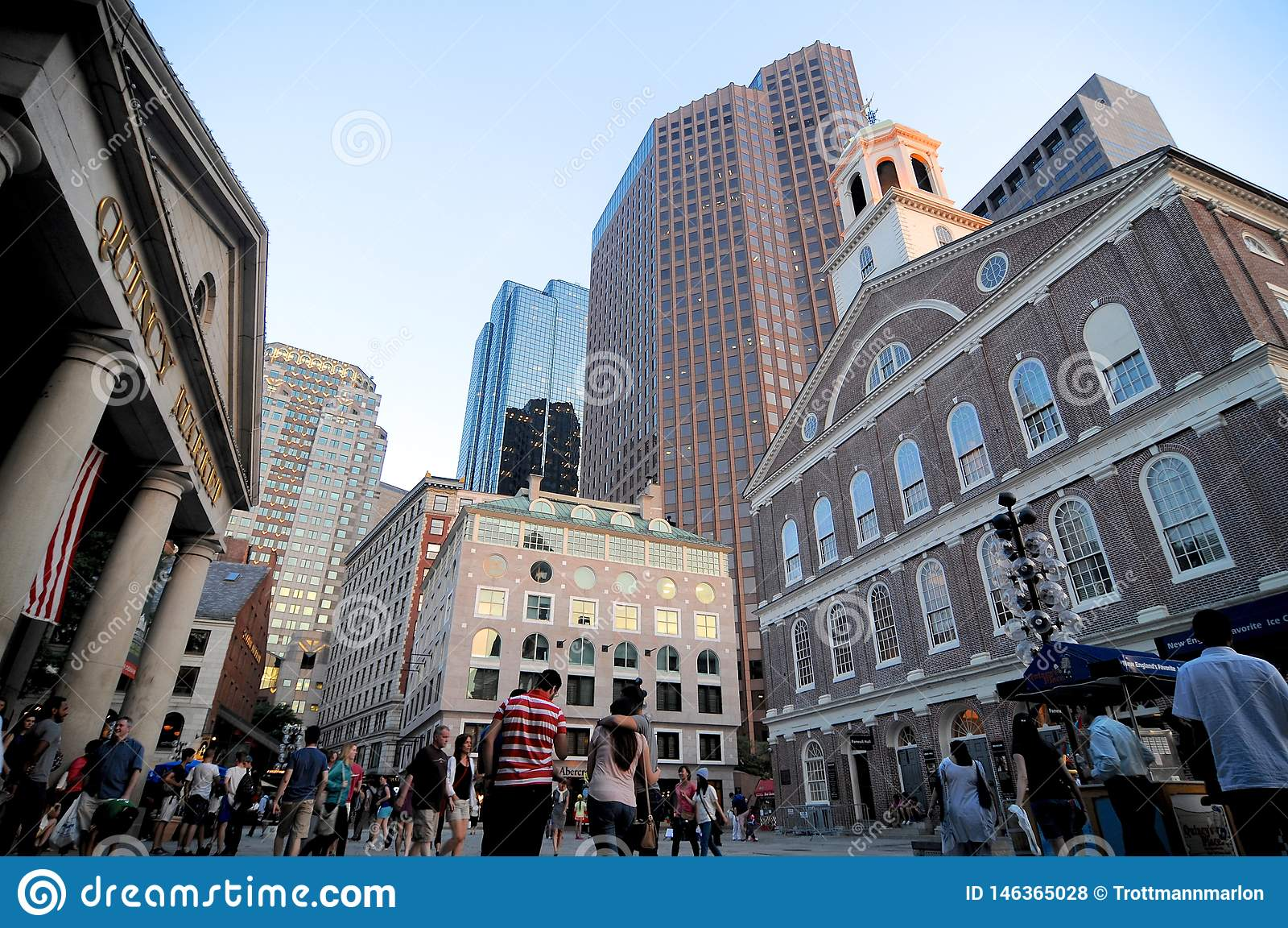 View on Quincy Market and the Faneuil Hall Building in Boston Downtown