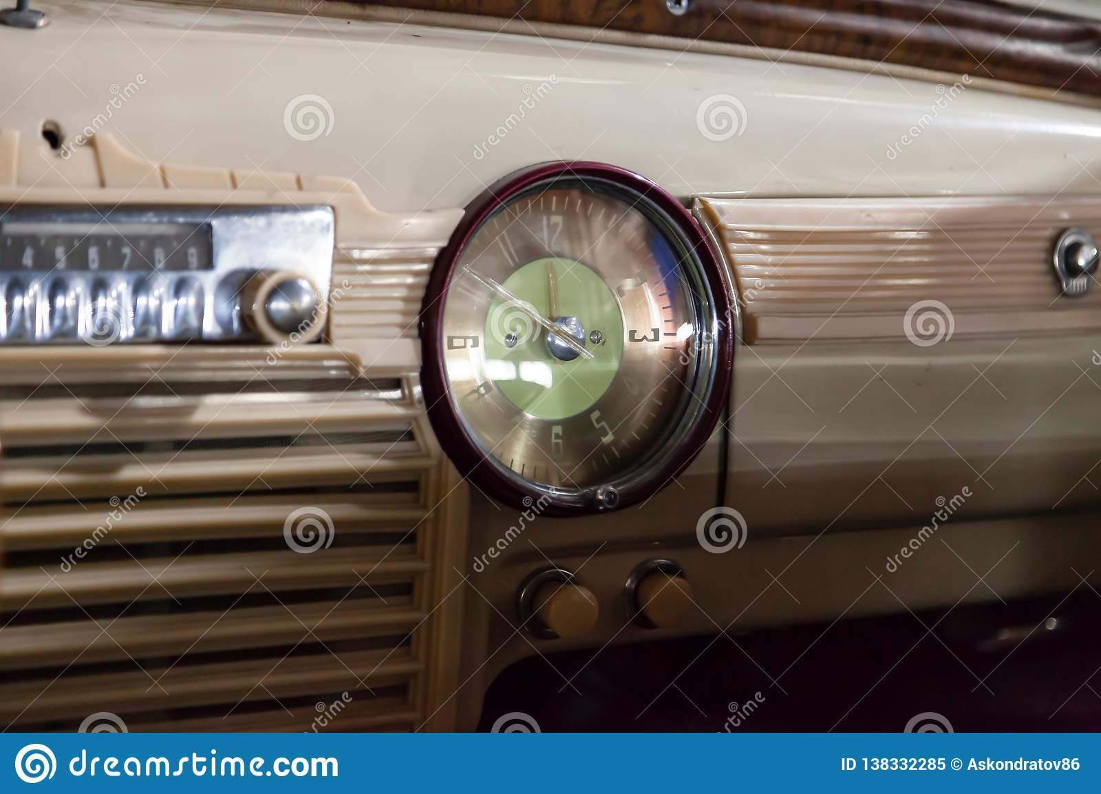 View from rear seat on the steering wheel and the interior of the old Russian car of the executive class released in the Soviet