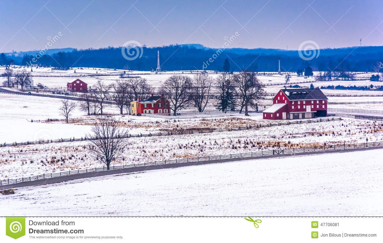 View of red barns and snow-covered farm fields from Longstreet T