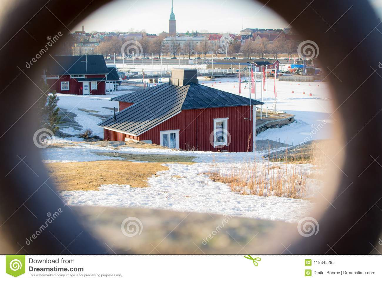 A view on a red cabin