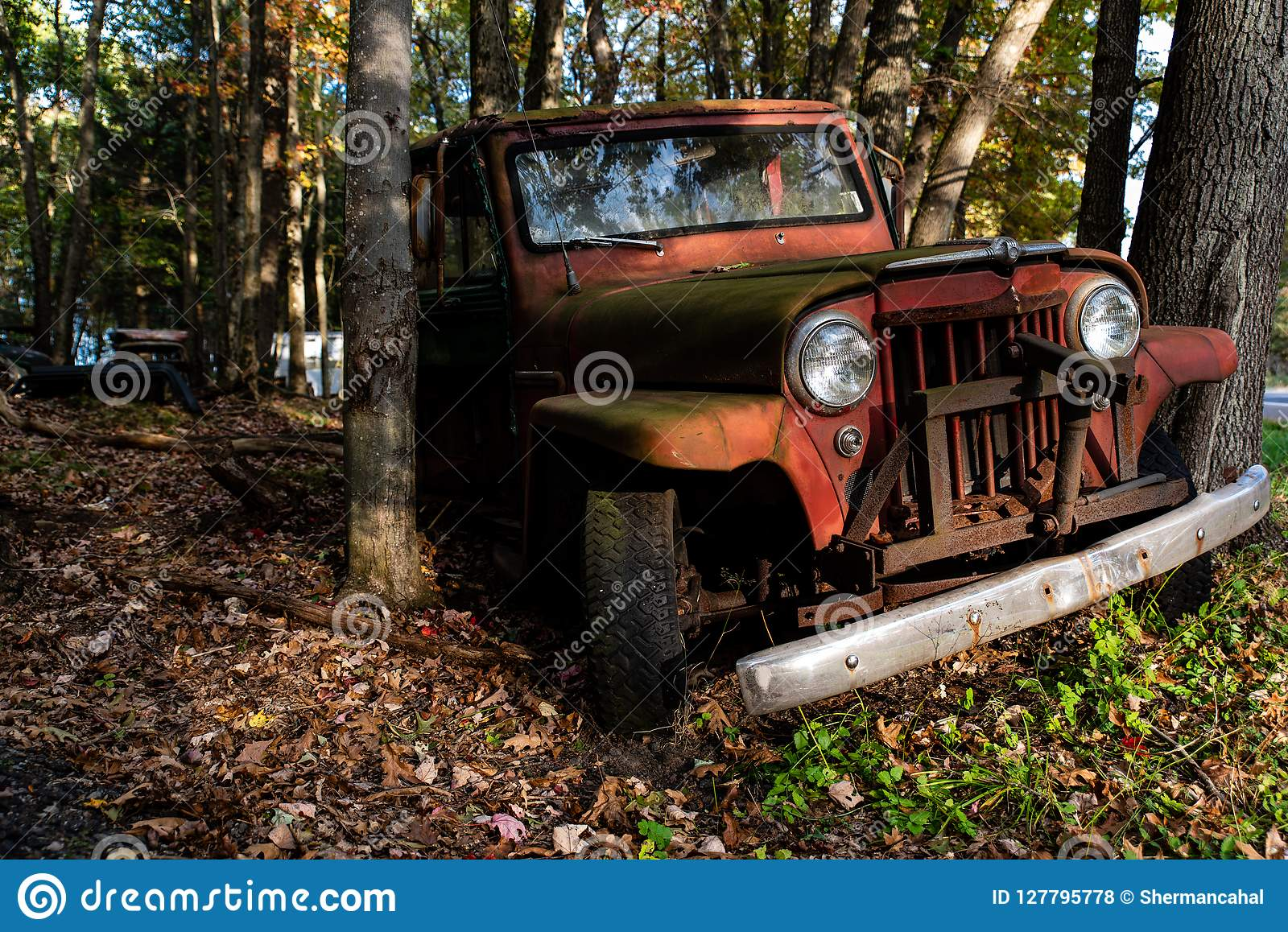 Abandoned Willys Jeep Station Wagon - Junkyard - Pennsylvania