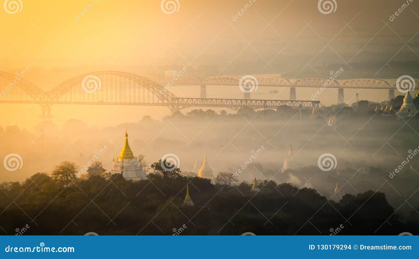 Temple scene at sunrise