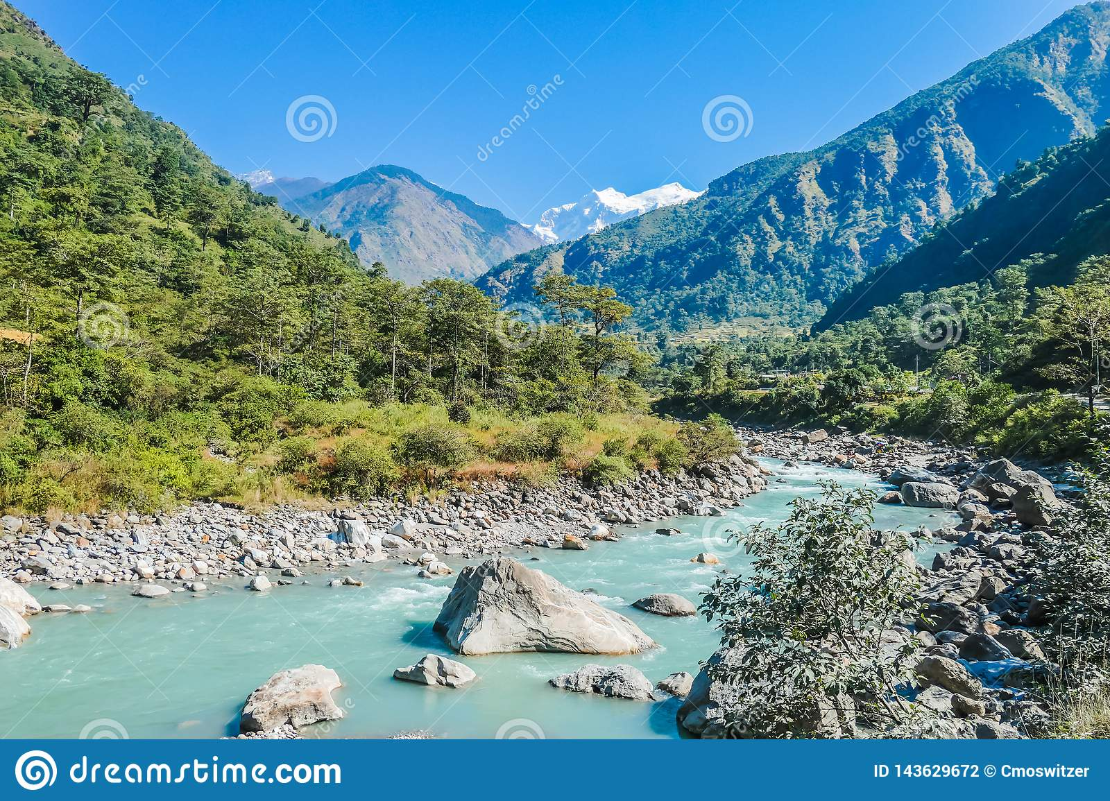 Nepal - View on the River and Mountains from Bhulbhule
