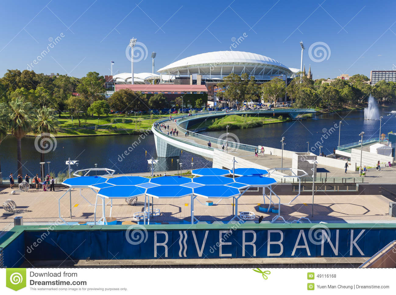 View of river torrens and adelaide oval in editorial stock for 2 torrens terrace