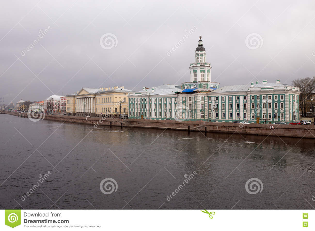 View of the river and the waterfront on a cloudy day. Spring. Saint-Petersburg. Russia.