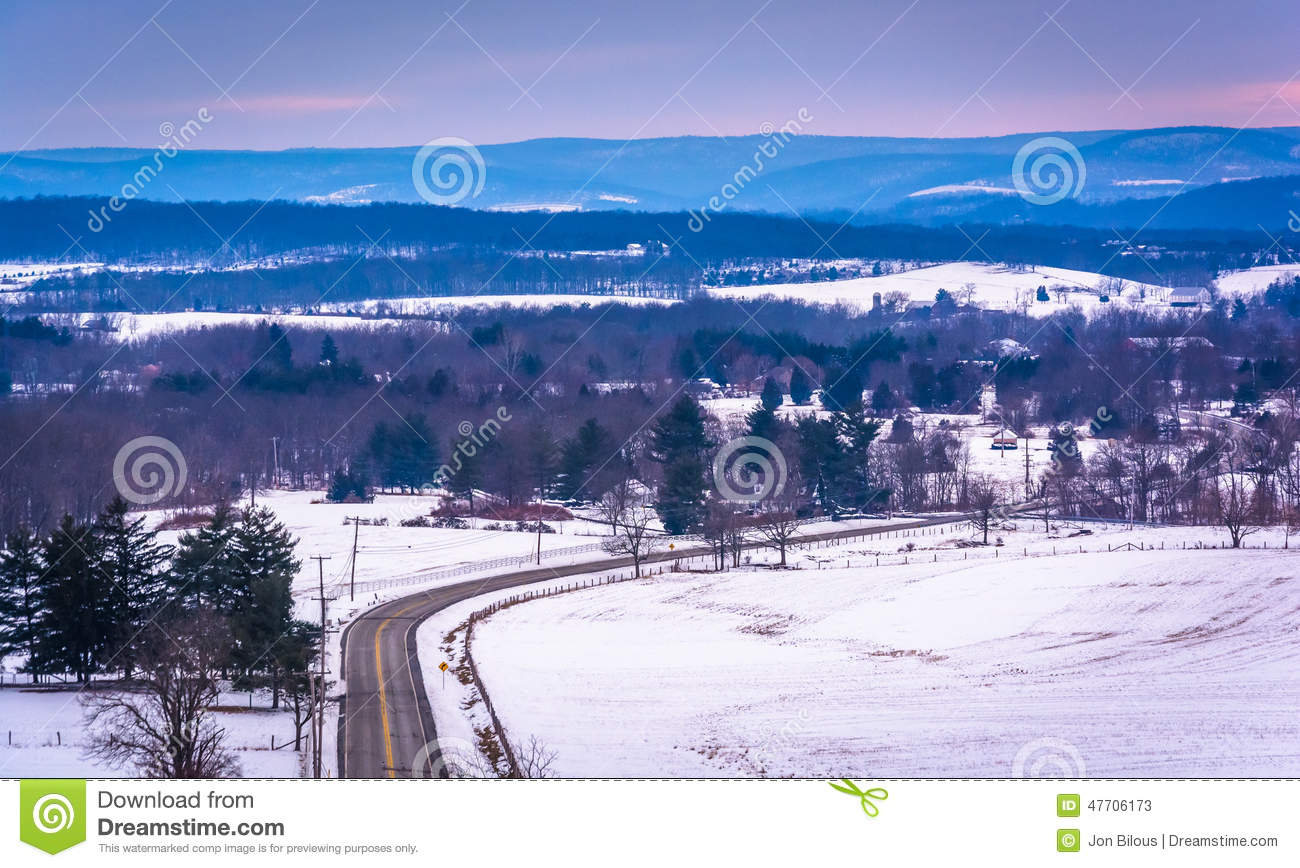 Download View Of Road Through Snow-covered Fields And Distant Mountains, Stock Image - Image of outdoors, trees: 47706173
