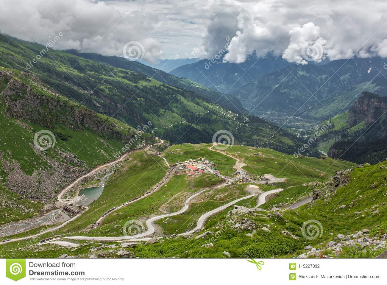 View from Rohtang pass at beautiful green Kullu valley